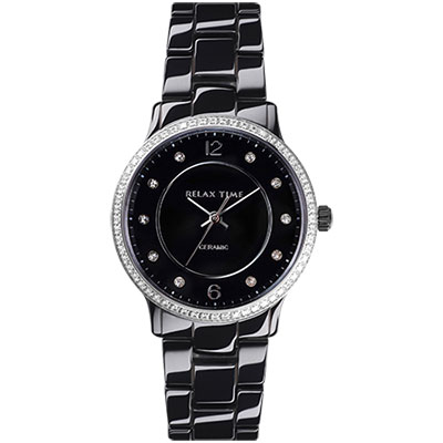 Relax Time RT-55-16 迷你馬卡龍晶鑽陶瓷腕錶-黑/30mm