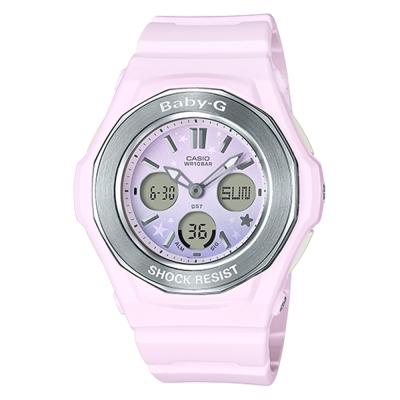 BABY-G可愛星星圖樣天空漸層色彩設計休閒錶(BGA-100ST-4)甜美粉43.3mm
