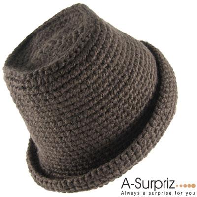 A-Surpriz-都會雅痞反摺毛線帽-深咖
