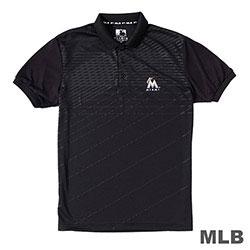 MLB-邁阿密馬林魚隊條紋印花POLO衫-黑 (男)