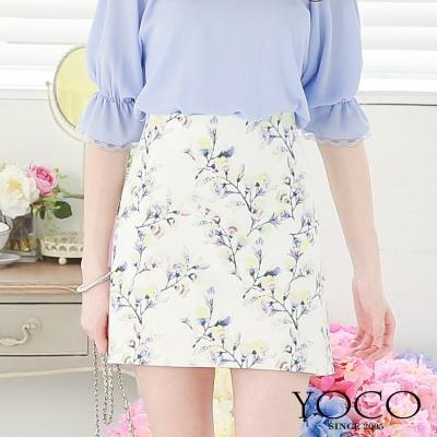 東京著衣-yoco 花朵圖案高腰窄裙-XS.S.M.L(共二色)