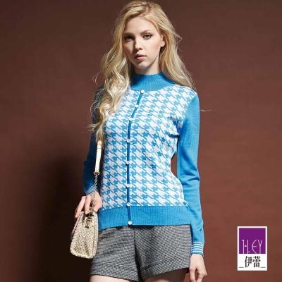 ILEY伊蕾-含羊毛千鳥紋立領針織衫-紫-藍