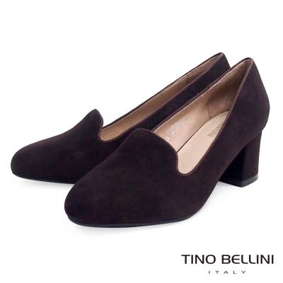 Tino-Bellini-復古優雅樂福粗跟鞋-深咖