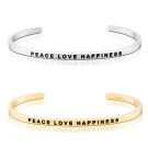 MANTRABAND Peace Love Happiness 和平愛幸福 銀X金 手環組