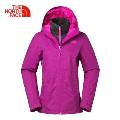 The North Face女款紫紅色防水透氣保暖刷毛三合一夾克