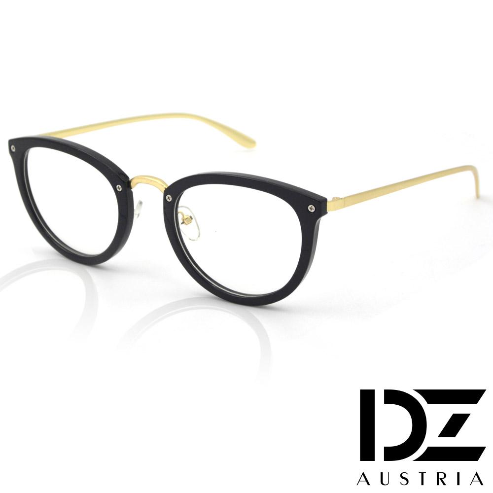 DZ 潮流藝能 平光眼鏡(亮黑框金腳)