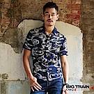 BIG TRAIN 和風印花短袖襯衫-男-深藍