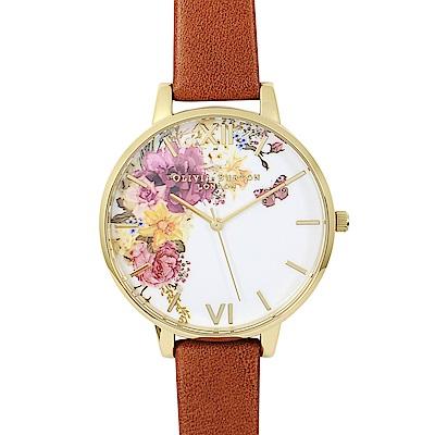 Olivia Burton 英倫復古手錶 魔法花園 棕色真皮錶帶 金色錶框38mm