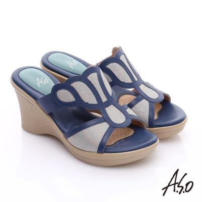 A.S.O 挺麗氣墊 全真皮奈米氣墊楔型涼拖鞋 藍色