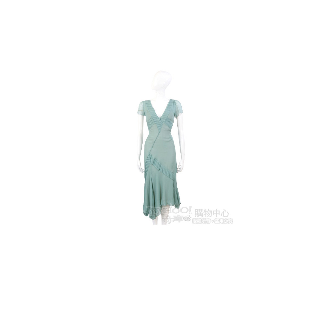 BLUMARINE-ANNA MOLINARI 綠色抓褶V領短袖洋裝