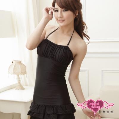 泳衣 可人甜美 素色一件式連身泳裝(黑M.L) AngelHoney天使霓裳