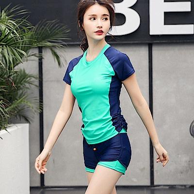 Biki比基尼妮泳衣   傑比學生短袖泳衣二件式泳衣(綠M-4XL)