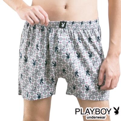 PLAYBOY MIT製LOGO印花精梳棉四角褲-單件(灰底菱方塊兔)