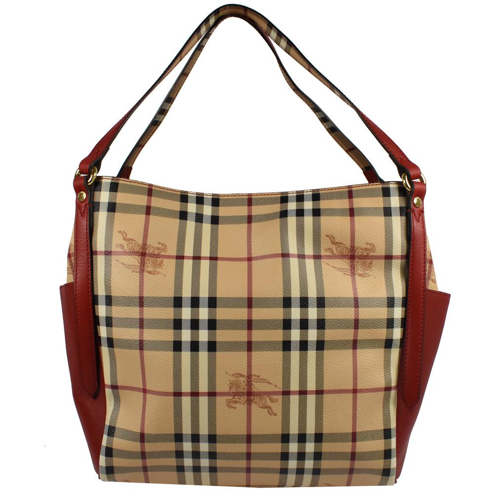 BURBERRY 雙口袋造型PVC戰馬格紋款托特包(紅) @ Y!購物