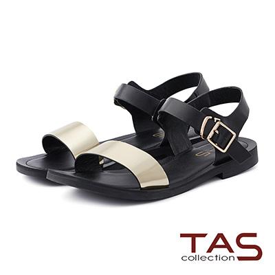 TAS 金屬感一字繫帶涼鞋-時尚金