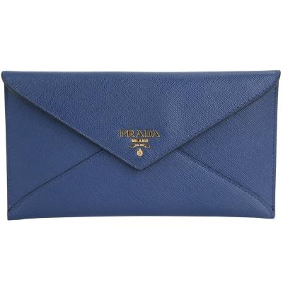 PRADA-金字信封造型防刮牛皮長夾-手拿包-藍色