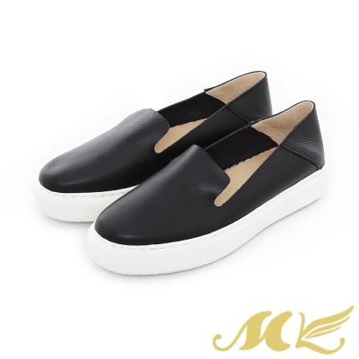 MK-網路限定-透氣真皮兩穿懶人厚底休閒鞋-黑色