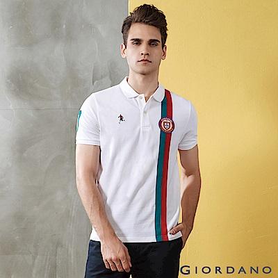 GIORDANO 男裝世足系列立體徽章短袖POLO衫(葡萄牙)-40 標誌白