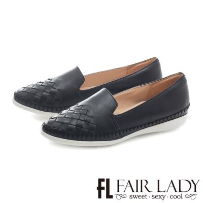 Fair Lady 原色氣息編織真皮休閒鞋 黑