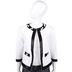 ANNA RACHELE 白色皮革飾邊蝴蝶結七分袖外套