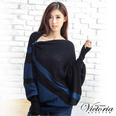 Victoria 寬長版不對稱斜條線衫-女-藍色