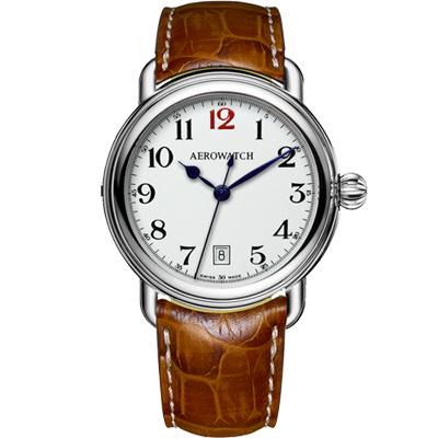 AEROWATCH 搪瓷復刻紳士時尚腕錶-白x棕/40mm