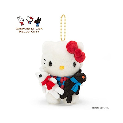 Sanrio HELLO KITTY*麗莎和卡斯柏好朋友抱抱絨毛玩偶吊鍊(KITTY)
