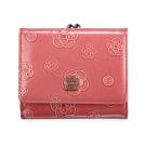 CLATHAS 山茶花壓紋漆皮框式珠扣短夾-桃粉色