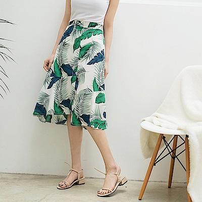 滿版花朵下襬不規則雪紡魚尾裙-OB大尺碼
