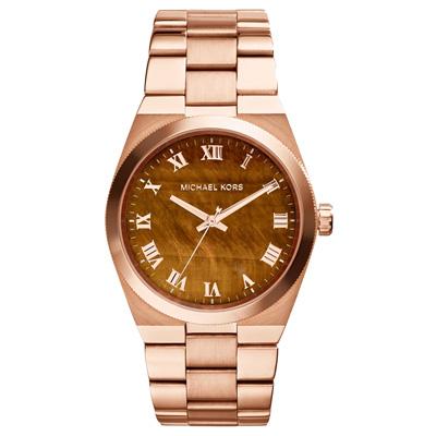 Michael Kors Channing 璀璨經典紋腕錶-木頭紋x玫瑰金38mm