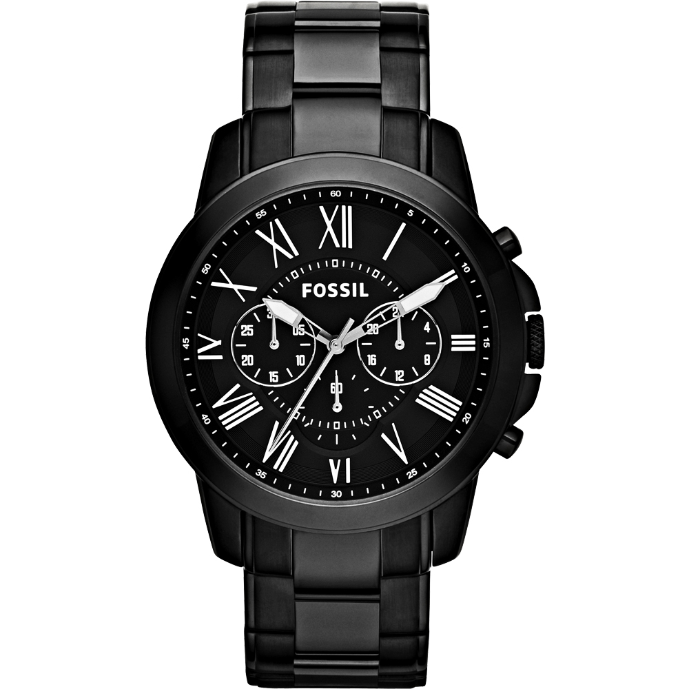 FOSSIL 旗艦玩家復刻計時腕錶-IP黑/45mm