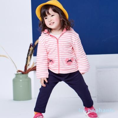 les enphants baby 條紋小甜心連帽二件式套裝
