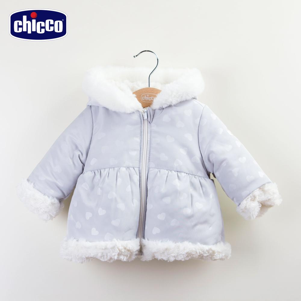 chicco長毛雙面連帽外套-灰(12-24個月)