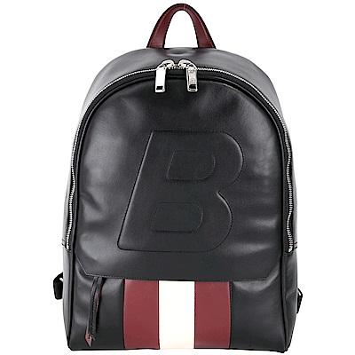 BALLY QUICKER B 浮雕牛皮紅白條紋後背包(黑色)