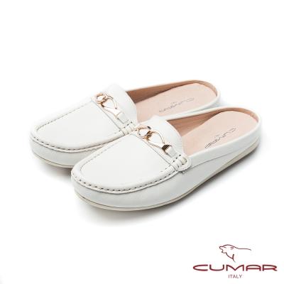CUMAR慵懶主義-簡約飾釦後空拖鞋式休閒鞋-白