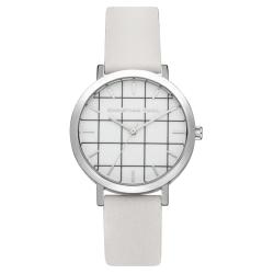 Christian Paul 經典格紋系列 銀框/白色皮革手錶35mm