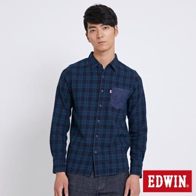 EDWIN 冒險旅行繡花山形格紋襯衫-男-灰藍