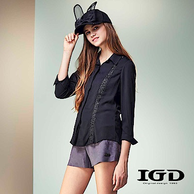IGD英格麗 個性透膚立體蕾絲拼接襯衫-黑色