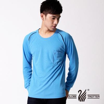 【遊遍天下】MIT台灣製中性款抗UV吸濕排汗長袖圓領衫L 038 - 1 藍色