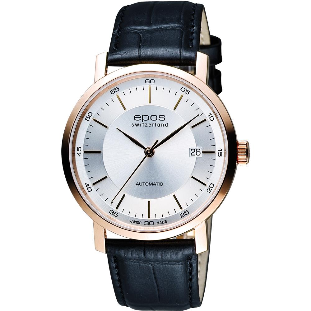 EPOS Originale原創系列 夢想家機械腕錶-銀x玫塊金框x黑/39mm