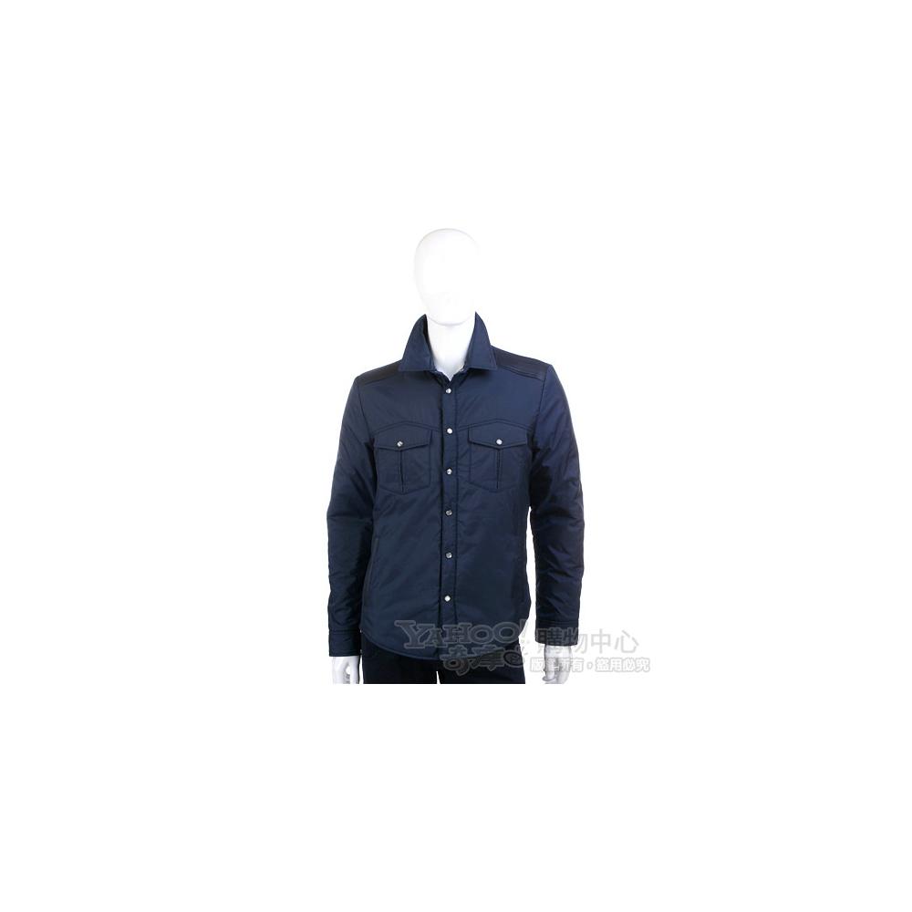 VERSACE 藍色異材質設計尼龍釦式外套