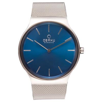 OBAKU 纖細時刻二針極簡米蘭腕錶-銀x藍/40mm