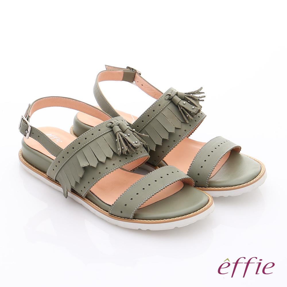effie 個性涼夏 流蘇真皮輕量軟Q涼鞋 綠色