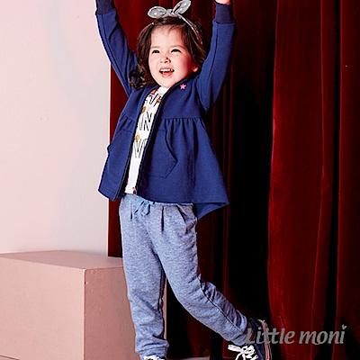 Little moni 內毛圈針織長褲(深藍)
