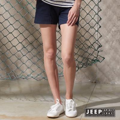 JEEP 女裝 民族風織花腰帶造型休閒短褲 (深藍)