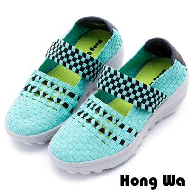 Hong Wa - 運動休閒透氣械型編織布鞋 - 綠