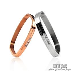 MYOS 珠寶白鋼情人手環 永恆不變(銀玫)