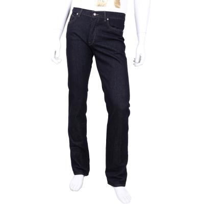 TRUSSARDI 深藍色仿舊皮牌飾浮雕LOGO牛仔褲