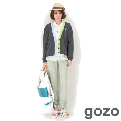 gozo-打摺設計條紋造型老爺褲-淺綠