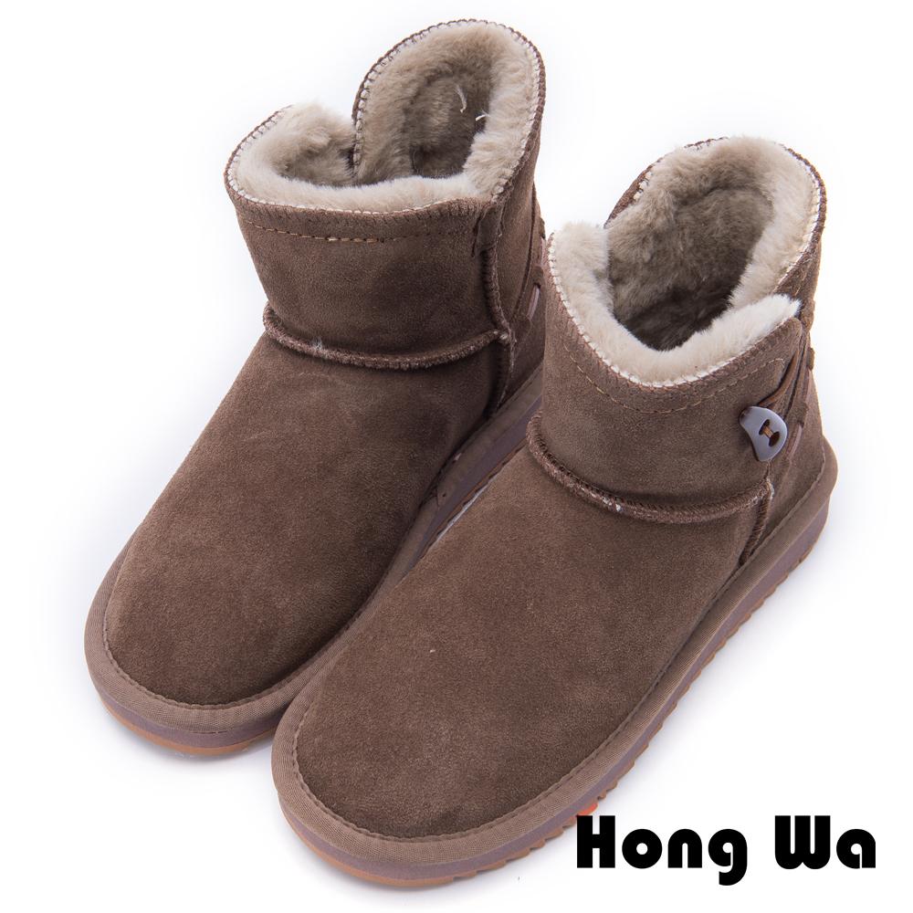 2.Maa - 日系風格牛麂皮牛角扣雪靴 - 棕